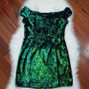 Guess Los Angeles Emerald Green Sequins Dress, 10